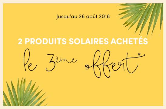 2 produits solaires achetés = le 3ème offert