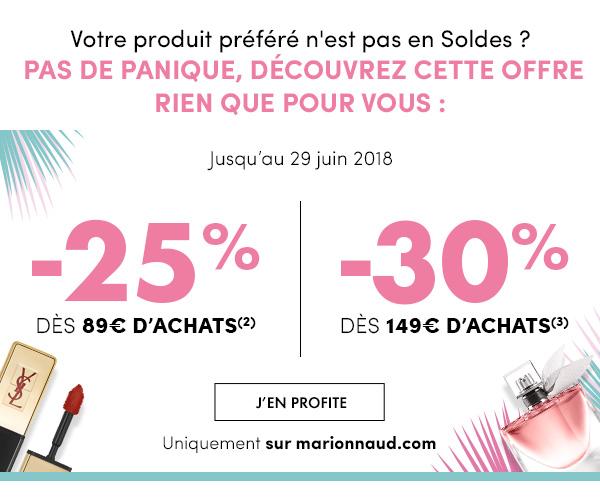 -25% dès 89€ d'achats(2) / -30% dès 149€ d'achats(3)