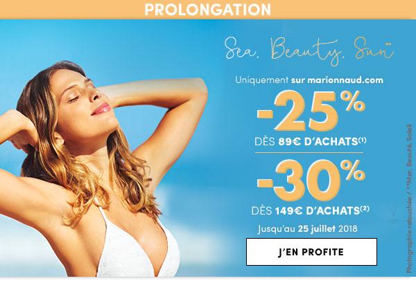 Prolongation -25% dès 89€ & -30% dès 149€