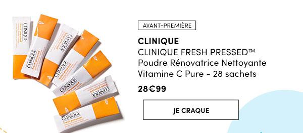 CLINIQUE FRESH PRESSED™Poudre Rénovatrice Nettoyante Vitamine C Pure - 28 sachets - Avant 1ère - 28,99€