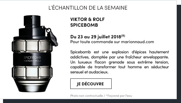 ECHANTILLON DE LA SEMAINE Offre valable du 23 au 29 juillet 2018 pour toute commande sur marionnaud.com, dans la limite des stocks disponibles. Photo non contractuelle